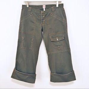 Joie Utility Crop Cuff Pants Khaki Green